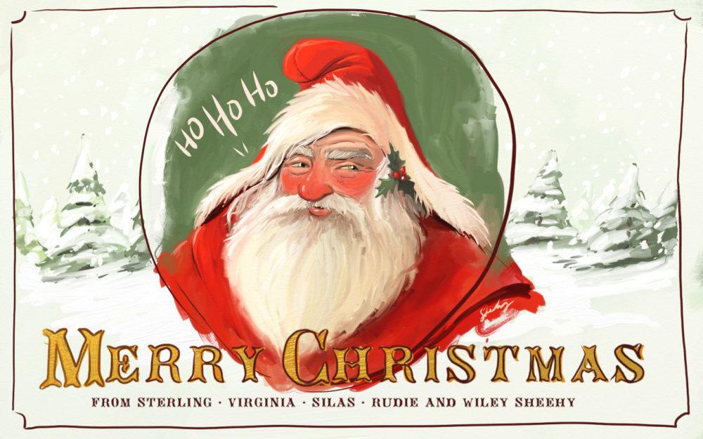 Santa clause painting merry christmas postcard