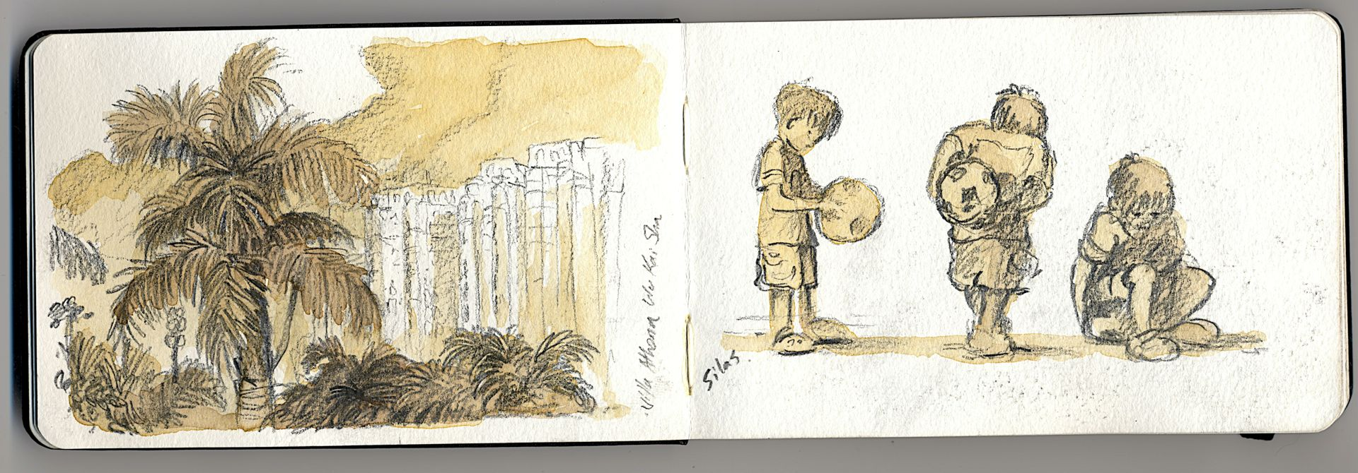 I hang out the beach, here in Hong Kong a lot with my boy.  He plays with his ball and digs in the sand. I draw.