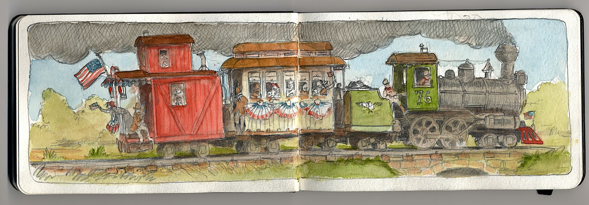 A very patriotic steam train drawing.