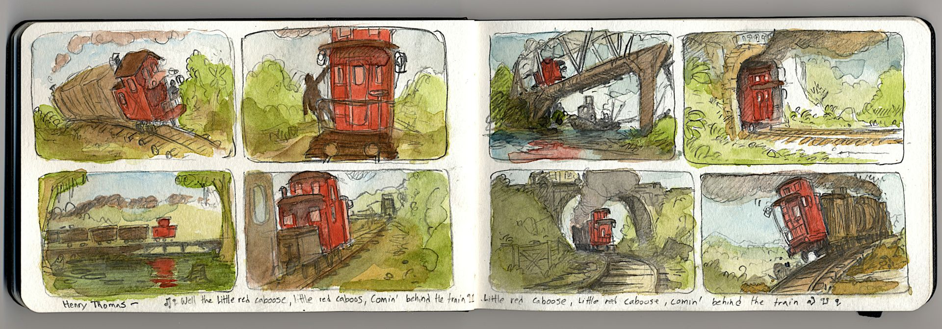 The the little red Caboose, little red Caboose, coming behind the train- By Henry Thomas is one of our favorite songs these days.