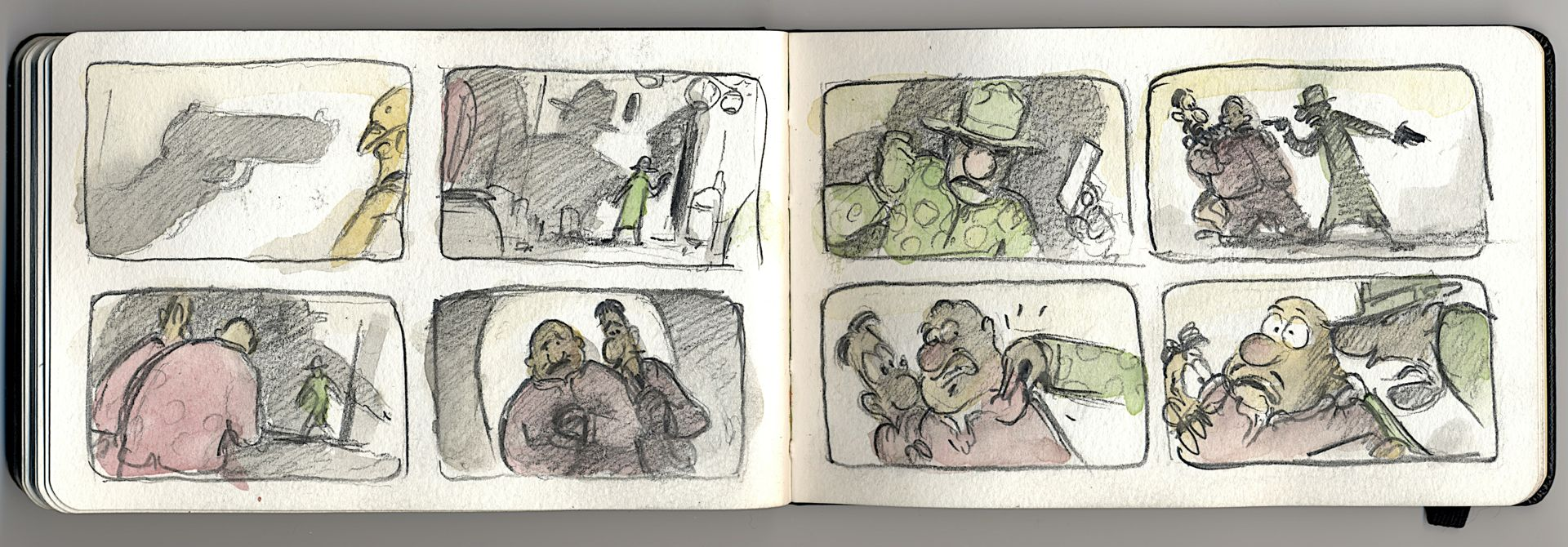the badguys are always one step behind in this storyboard sequence.