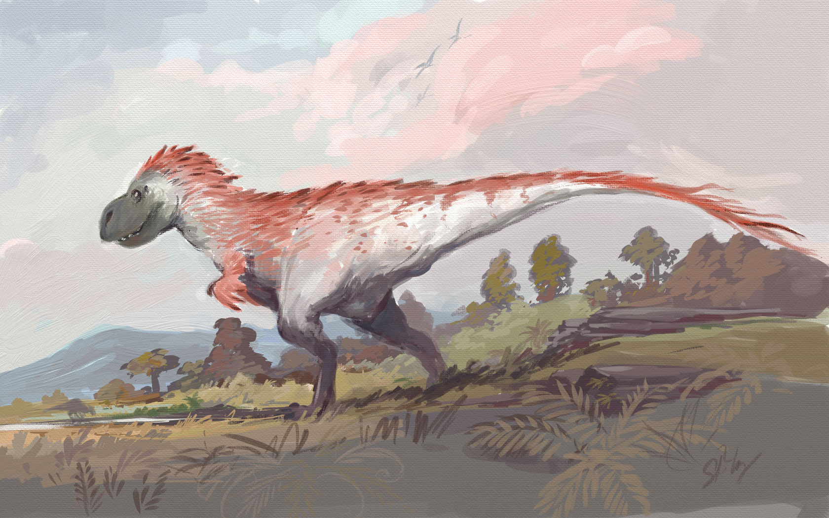 Tyrannosaurus rex sporting red feathers.