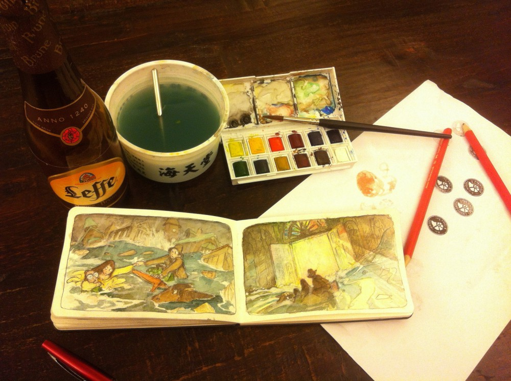 water color doodles late at night. painting in the sketchbook.
