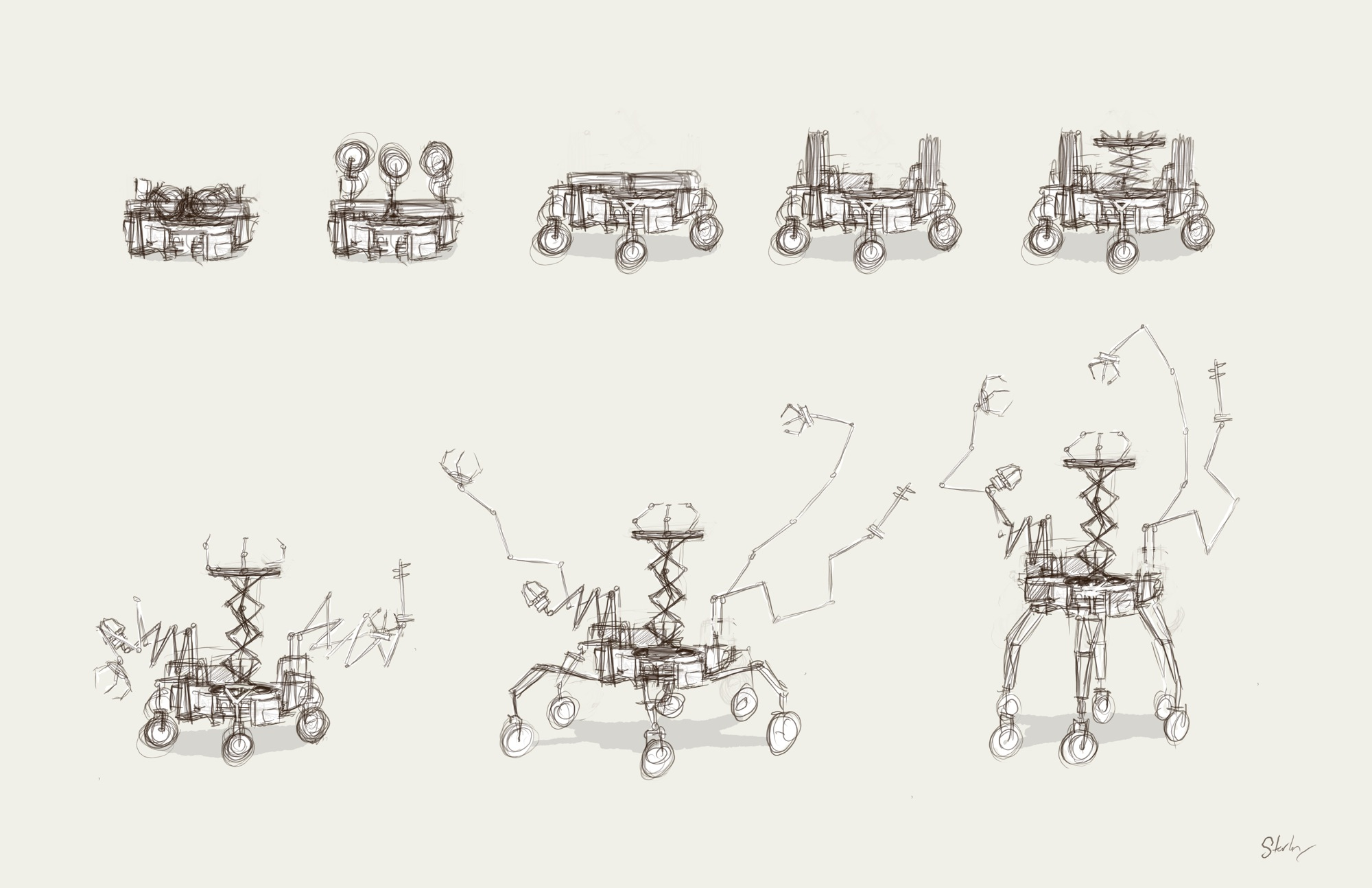 The rover unfolding sequence.