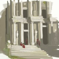 roman ruins digital oil painting