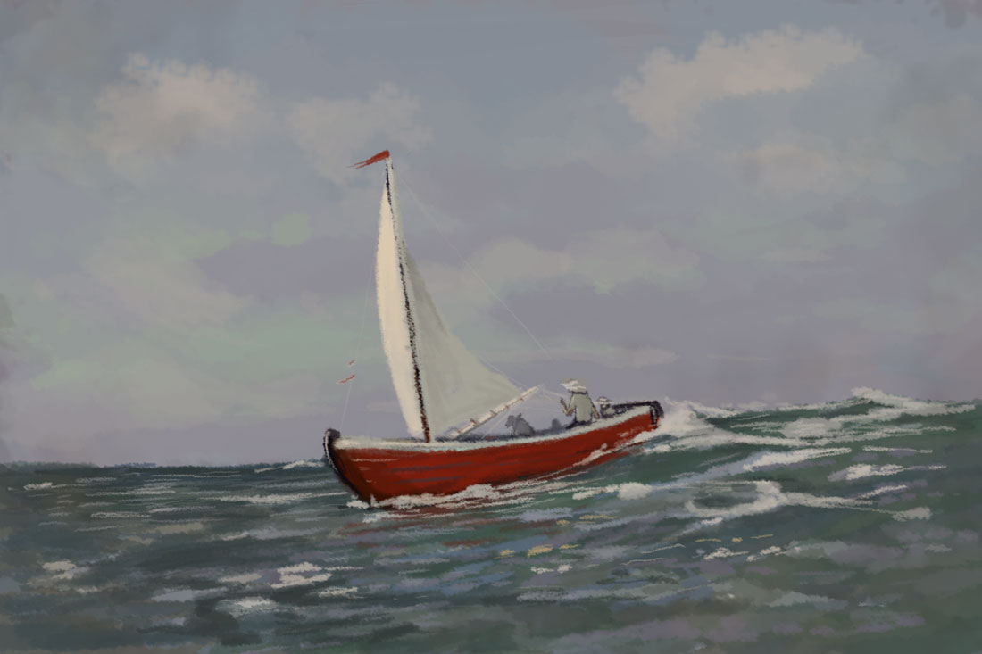 digital painting sailing the ocean blue