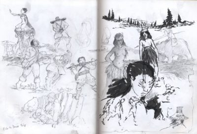 sketchbook drawing girls, slave