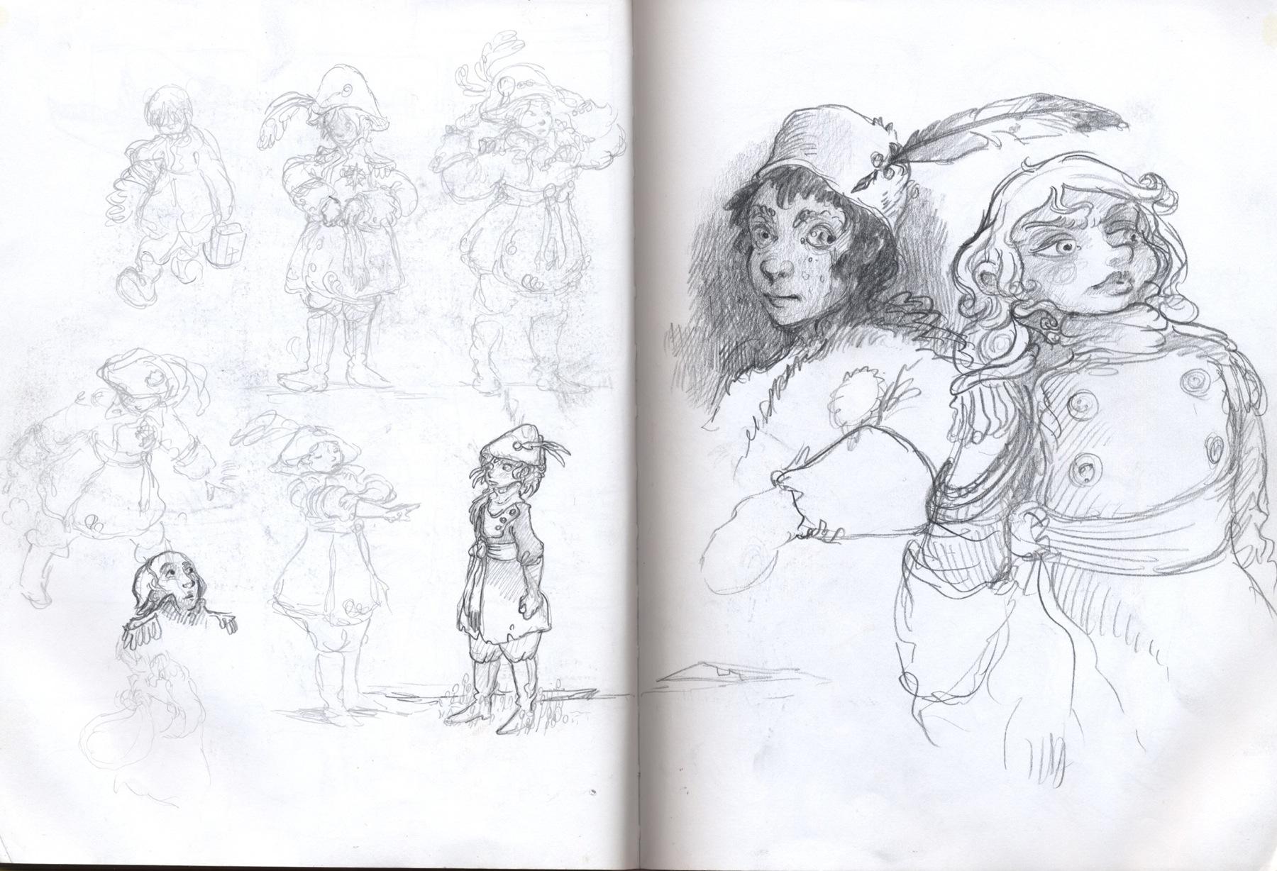 sketchbook drawing uniforms