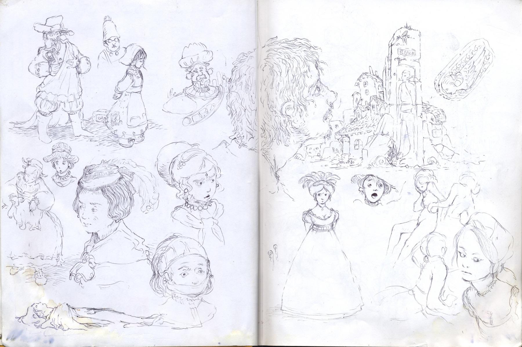 sketchbook drawing hat girls dresses