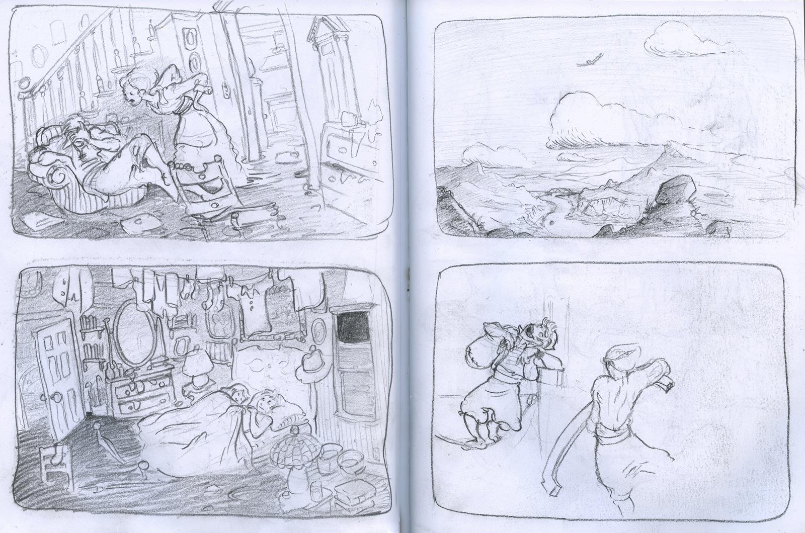 sketchbook drawing storyboard panels