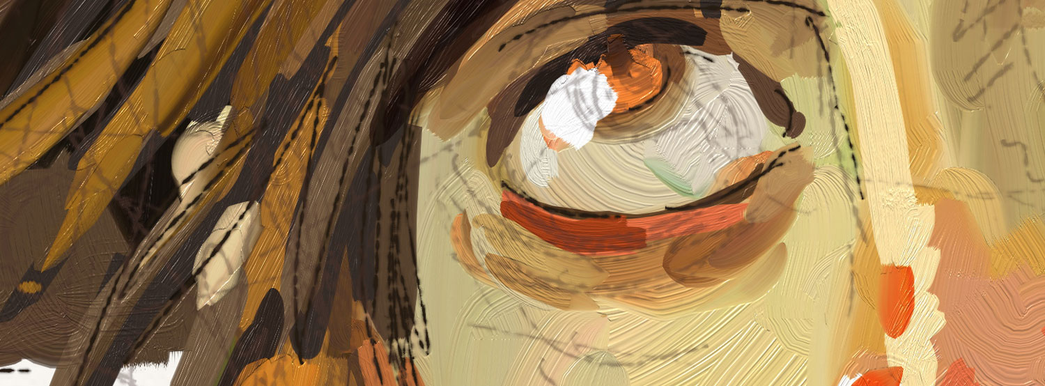 close up of the render in artrage