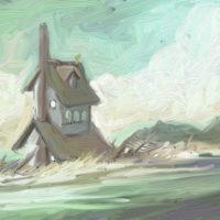 a house on the rocks