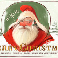Santa clause painting merry christmas postcard
