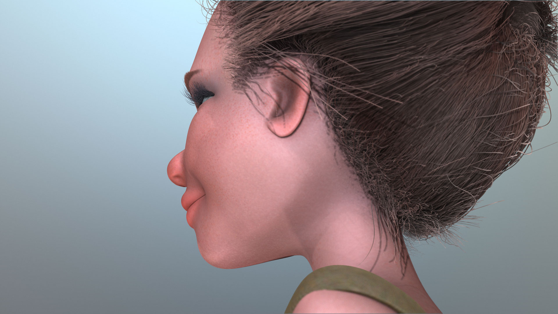 gibson girl hair render test zbrush