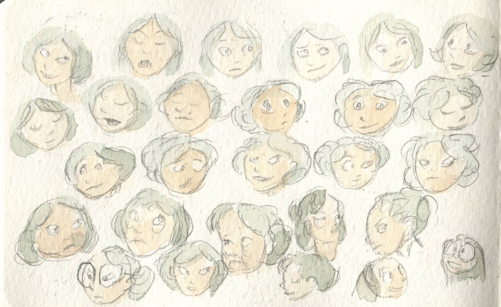 cartoon head studies