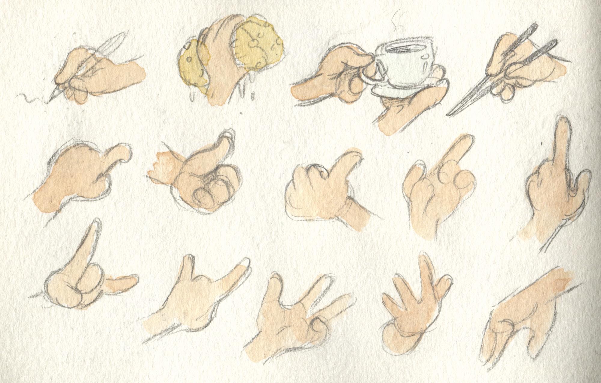 cartoon hand studies