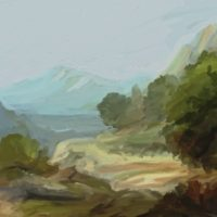 artrage digital oil mountain road thumbnail