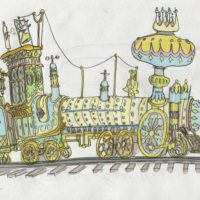 cartoon steam train