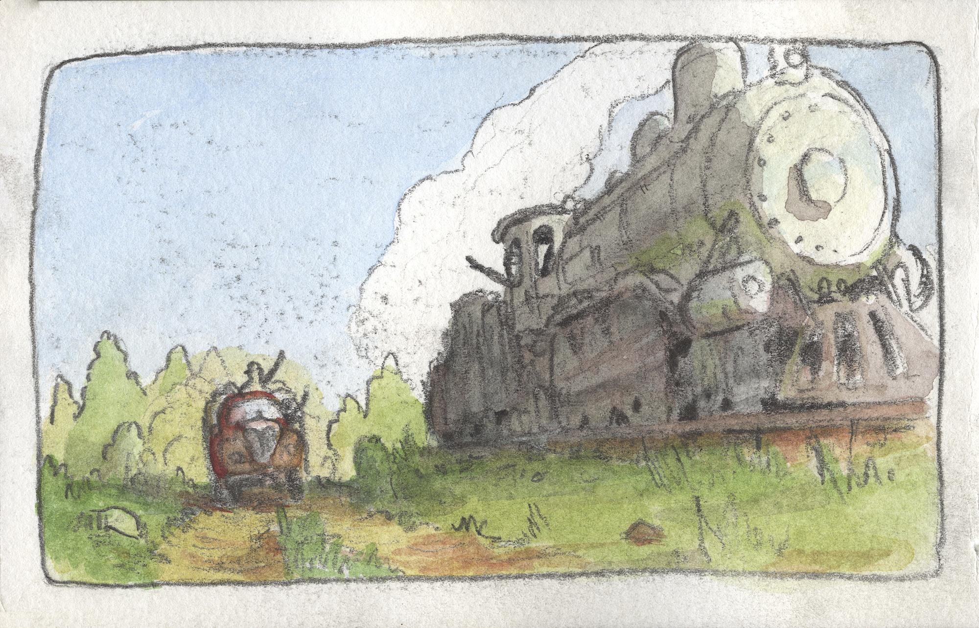 train racing a truck