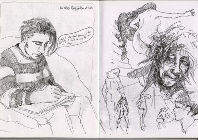drawing in his sketchbook