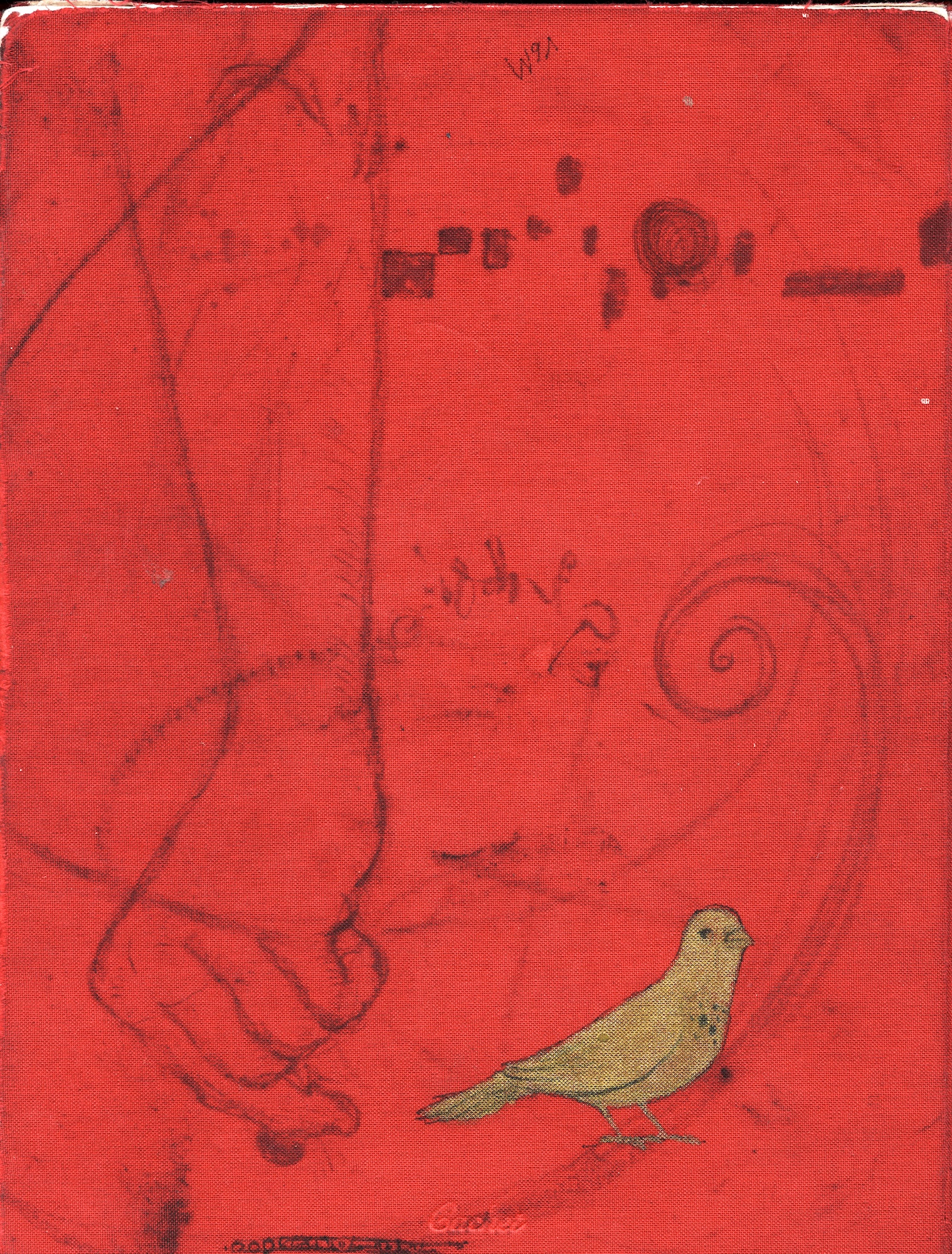 red fabric gold bird sketchbook