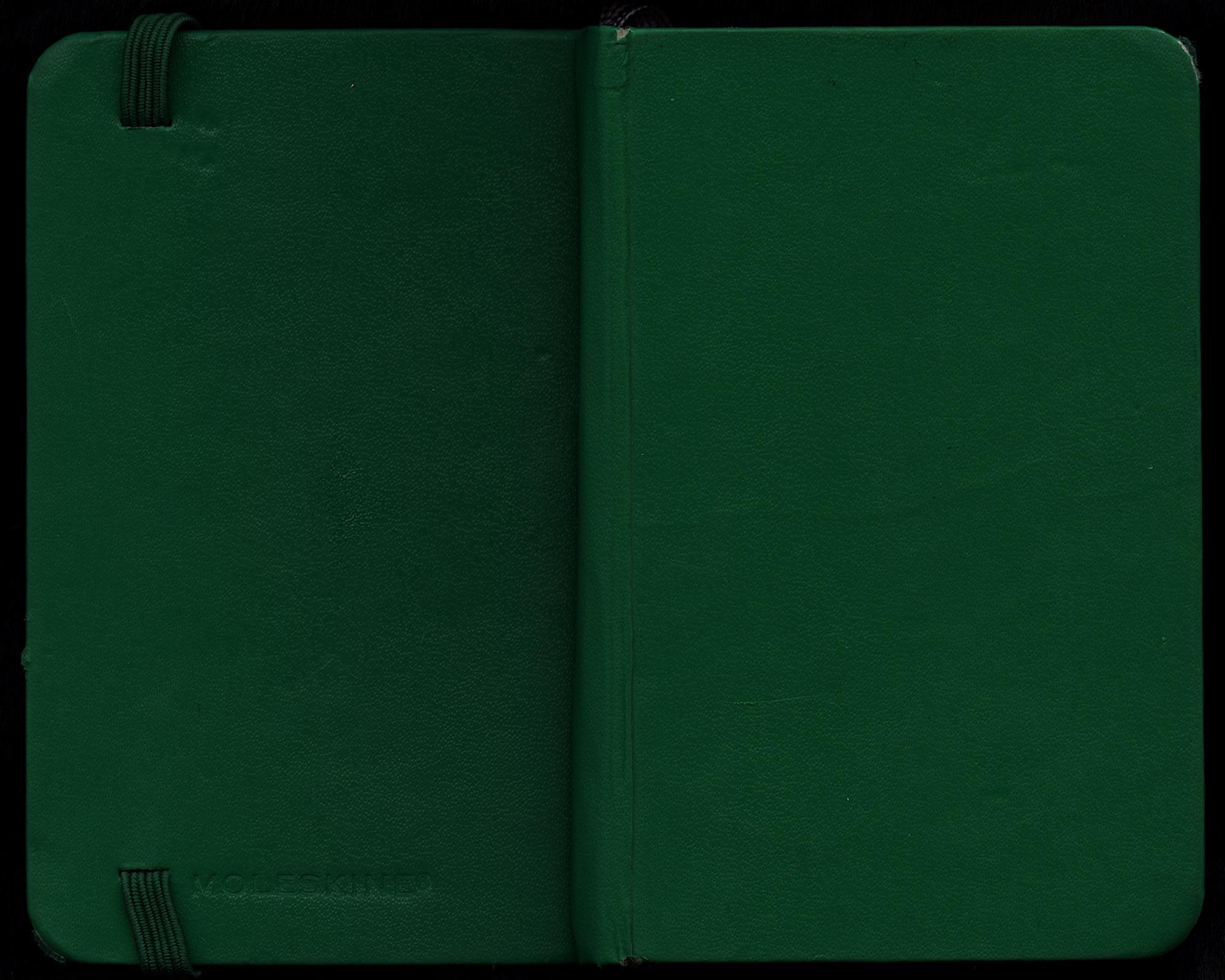 Green moleskin sketchbook