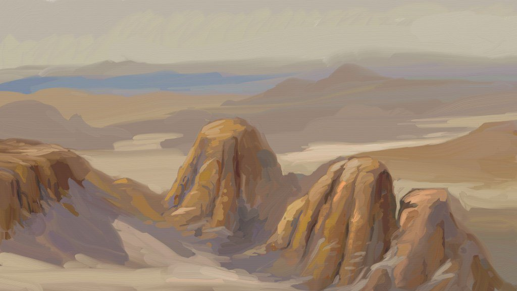digital oil painting of desert