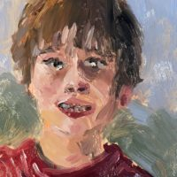 Oil painting self portrait by a boy age seven
